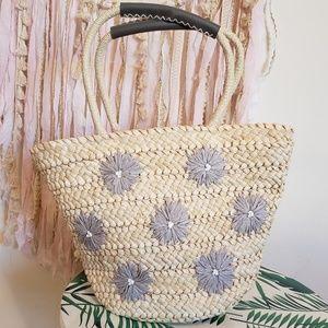 Handbags - Handle drop straw handbag, boho bag